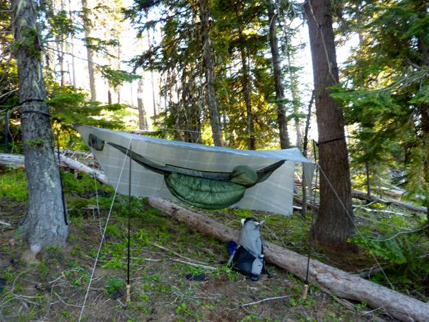 Gossamer Gear LT4 poles with hammock tarp